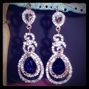 Sapphire Crystal White Rhinestones Dangle Earrings